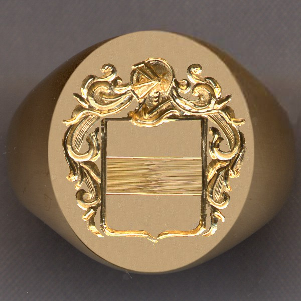 How a ring would look with a shield divided by a fess.