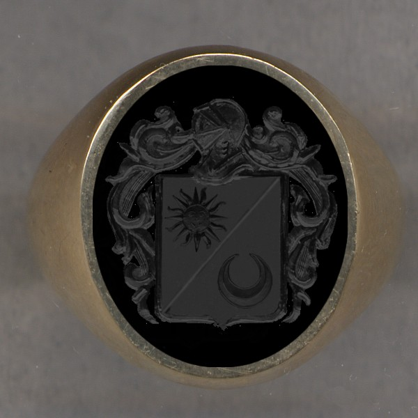 How a ring would look with two charges on a shield per bend sinister.
