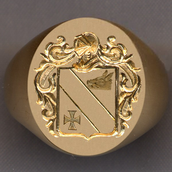 How a ring would look with the shield divided in three by a bend; a charge above and one below