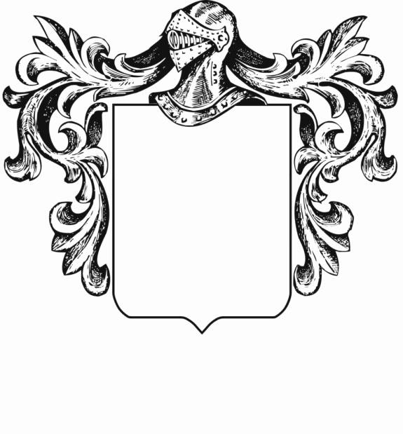 Helmet and mantle with a blank shield. Print this to design your own coat of arms.