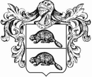 Two charges (a beaver on the top and another beaver on the bottom) in a horizontally divided shield (per fess) as a drawing.