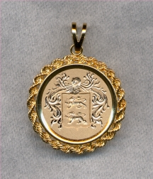 Gold Family Crest Pendant by Heraldica Imports