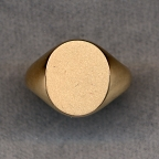Ladies Gold Plain Signet Solid Ring with Plain Shank by Heraldica Imports