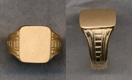 Ladies Gold Plain Signet Solid Ring with Carved Shank by Heraldica Imports