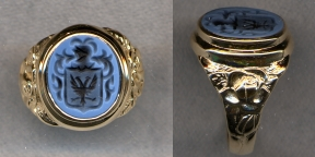 Ladies Stone Family Crest Ring with Carved Shank by Heraldica Imports