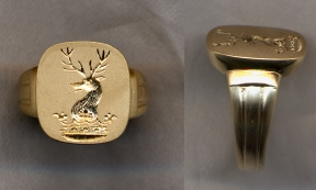 2500 Gold Crest Ring Collection Solid with Carved Shank by Heraldica Imports