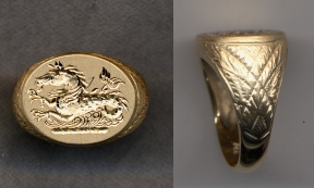 2500 Gold Crest Ring Collection Hollow with Carved Shank by Heraldica Imports