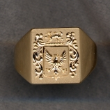 Mens Gold Family Crest Solid Ring with Plain Shank by Heraldica Imports
