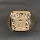 Mens Gold Family Crest Ring Hollow by Heraldica Imports
