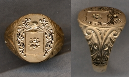 Mens Gold Family Crest Ring Solid with Carved Shank by Heraldica Imports