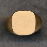 Mens Gold Plain Signet Solid Ring with Plain Shank by Heraldica Imports
