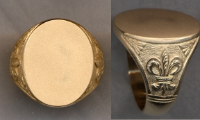 Mens Gold Plain Signet Solid Ring with Carved Shank by Heraldica Imports