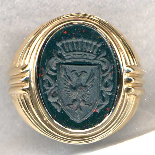 A man's Family Crest Ring in Bloodstone.