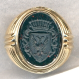 Mens Stone Family Crest Ring with Carved Shank by Heraldica Imports