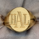Gold Monogram Ring by Heraldica Imports