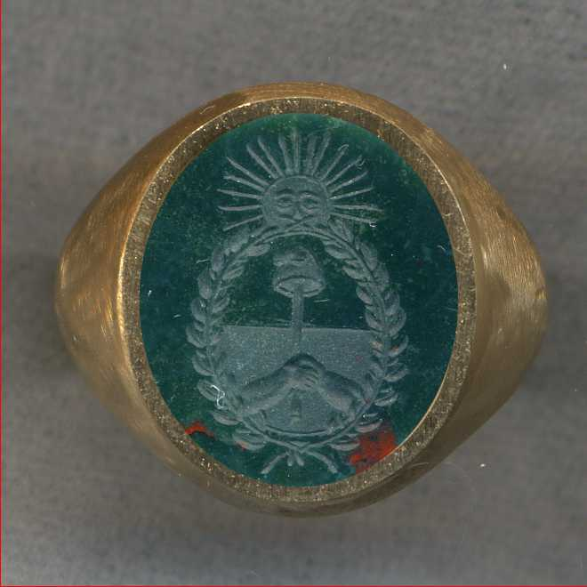 A man's ring with the Coat of Arms of Argentina.