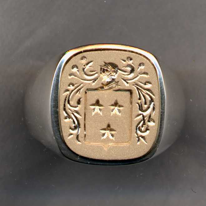 A two tone men's Family Crest Ring.