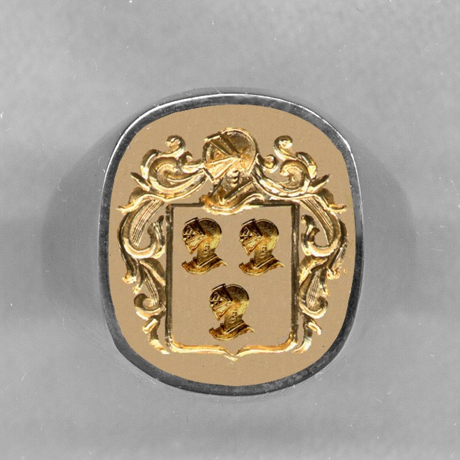 Two Tone Family Crest Ring by Heraldica Imports